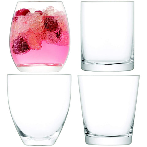 LSA International Lulu Tumbler 350-390ml Clear Assorted x4
