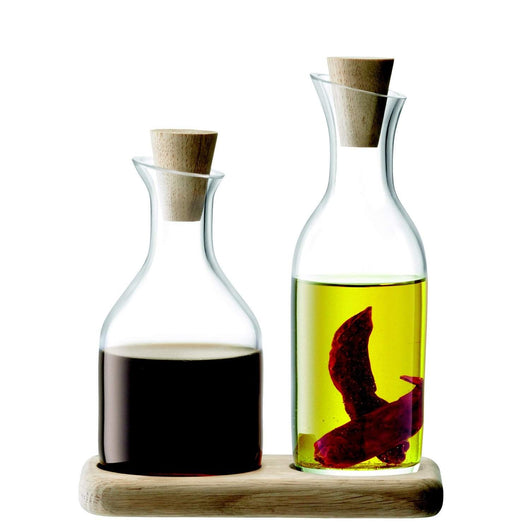 LSA International Serve Oil & Vinegar Set & Oak Base L15cm Clear