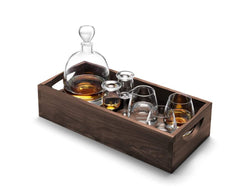 LSA International Whisky Islay Connooisseur Set Clear & Walnut Tray L44cm