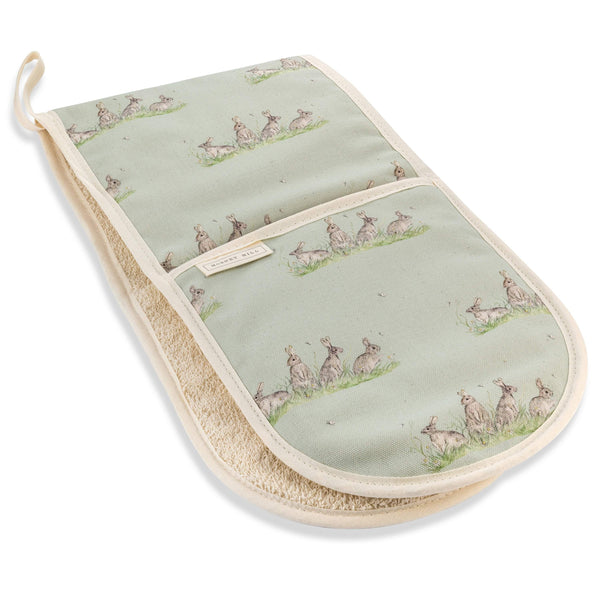 Mosney Mill Edgar Green Rabbit Double Oven Gloves