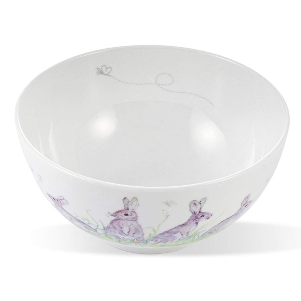 Mosney Mill Edgar Green Rabbit China Open Sugar/Nibbles Bowl (White)