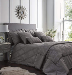 Orlando Quilted Throw Set Charcoal