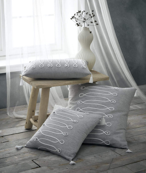 Palazzo Filled Tassel Square Cushion (43x43cm) Grey