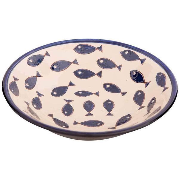 Signature Blue and White Fish Pasta Bowl - Blue Fish