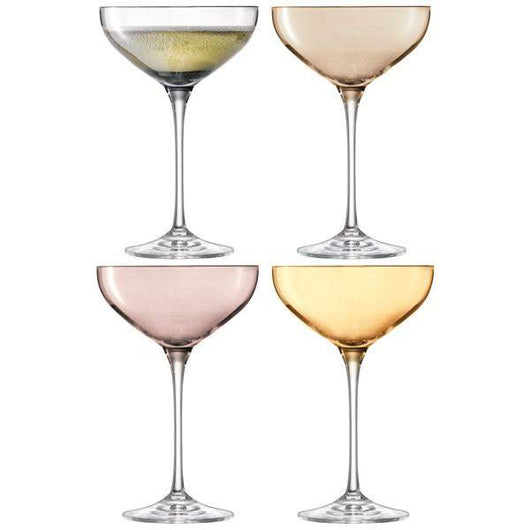 LSA International Polka Champagne Saucer 235ml Metallics Assorted x 4