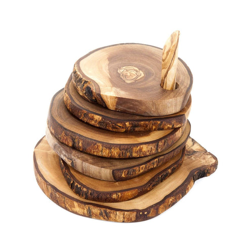 Divine Distribution Olive Wood 6 Rustic Coasters