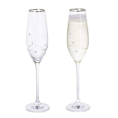 Dartington Crystal Glitz Platinum Champagne Flutes