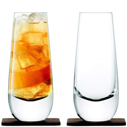 LSA Whisky Islay Mixer Glasses and Walnut Coasters