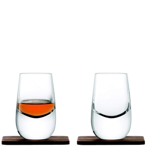 LSA Whisky Islay Shot Glasses and Walnut Coasters