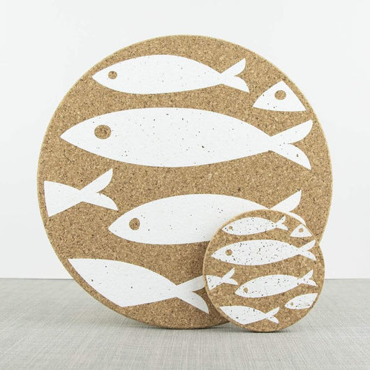 Liga Cork Coaster Set White Fish