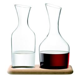 LSA Wine Water and Wine Carafe Set and Oak Base