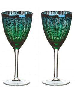 Artland Peacock Wine Glass - Set of 2