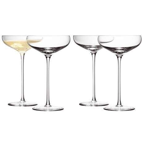 LSA Wine Champagne Saucer - Clear - Set of 4