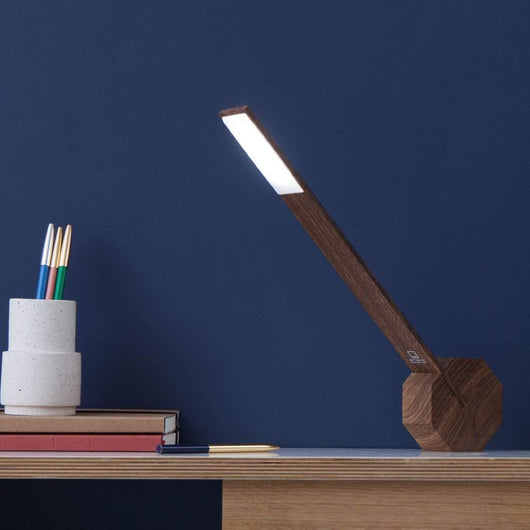 Gingko Octagon One Desk Lamp Walnut