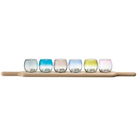 LSA Paddle Tealight holder Set & Oak paddle - Assorted - L65.5cm