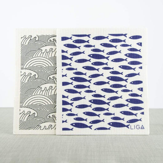 Liga Eco Dishcloths Fish & Wave