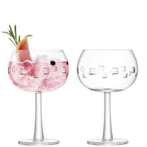 LSA International Gin Balloon Glass 420ml Cube Cut x 2