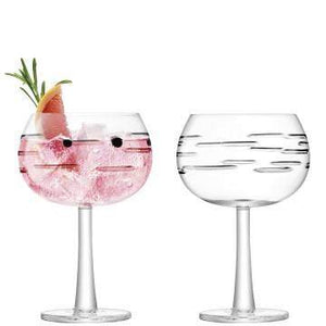 LSA International Gin Balloon Glass 420ml Dash Cut x 2