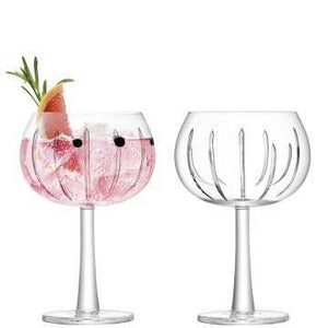 LSA International Gin Balloon Glass 420ml Ray Cut x 2