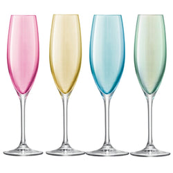 LSA International Polka Champagne Flute - Pastel Assortment - Set of 4