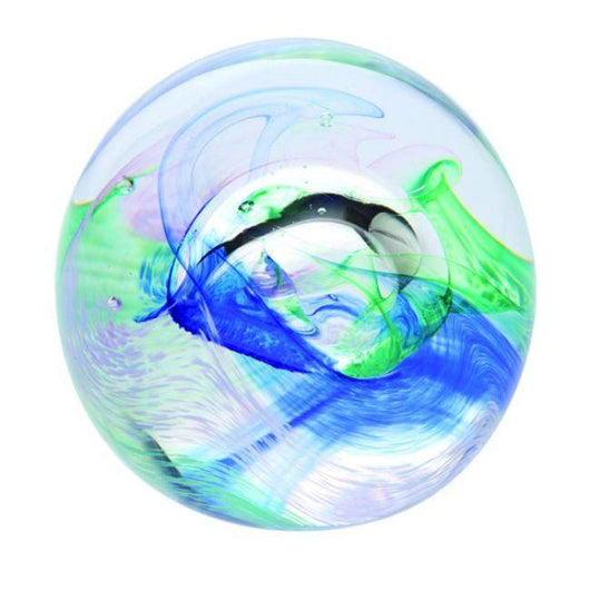 Caithness Glass Mooncrystal Ocean Blue Paperweight