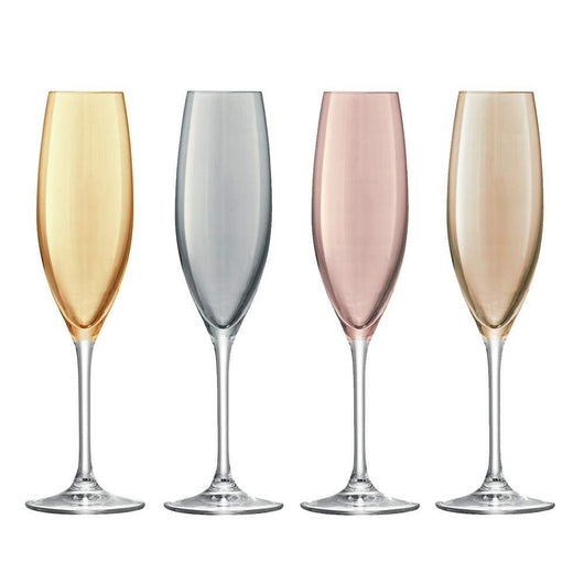 LSA International Polka Champagne Flute - Metallic Assortment - Set of 4