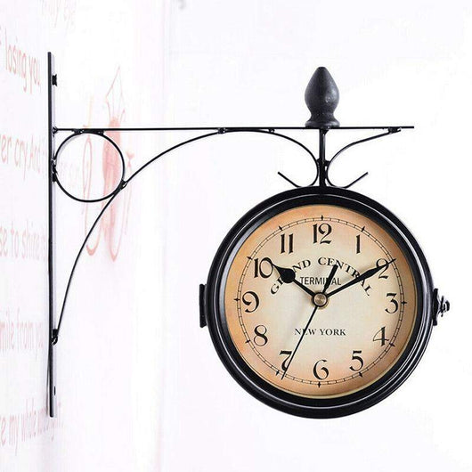 Dual Face Grand Central Wall Clock Black Outdoor Garden Decor