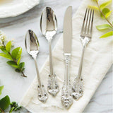 Vintage Style 24pcs Cutlery Set Stainless Steel Classic Style Dinnerware Set With Flower Engraved Handles