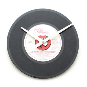 "Donna Summer<br>She Works Hard<br>7"" Vinyl Clock"