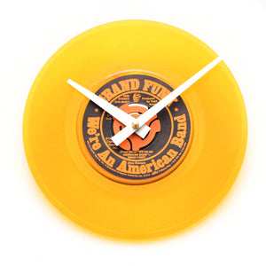 "Grand Funk<br>We're An American Band<br> Yellow Coloured<br>7"" Vinyl Clock"