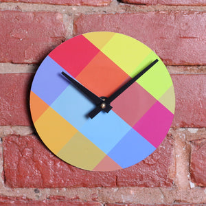 "Custom Made 7"" Colourful Printed Clock Using Original 45 RPM Record"