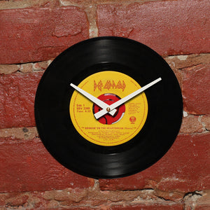 "Def Leppard - Bringin' On The Heartbreak 1984 Remix 7"" Single - Handmade Vinyl Record Clock Using Original 45"