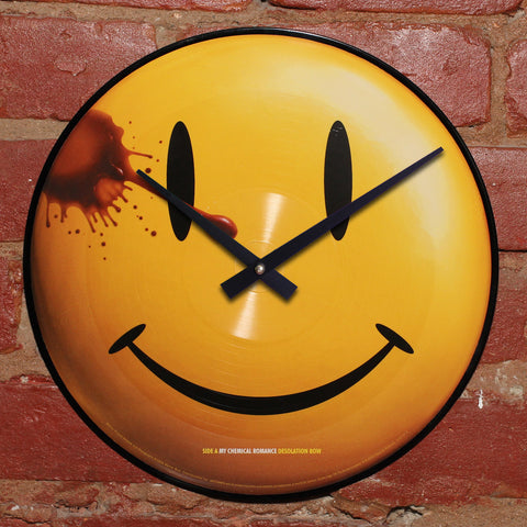Watchmen Happy Face - Official Soundtrack - Handmade Vinyl Clock Using Original LP Record