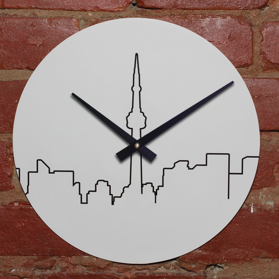White Stenciled City Skyline Of Toronto Handmade Clock Made WIth Original LP Record