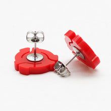 Handmade Red <br>45 Spacer <br>Stud Earrings