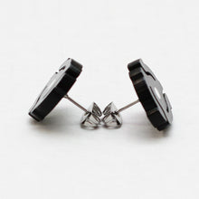 Handmade Black <br>45 Spacer <br>Stud Earrings