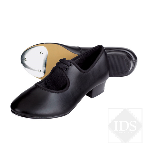 Black PU low heel tap shoes
