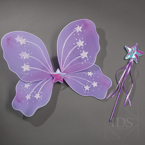 Lilac fairy wings and wand