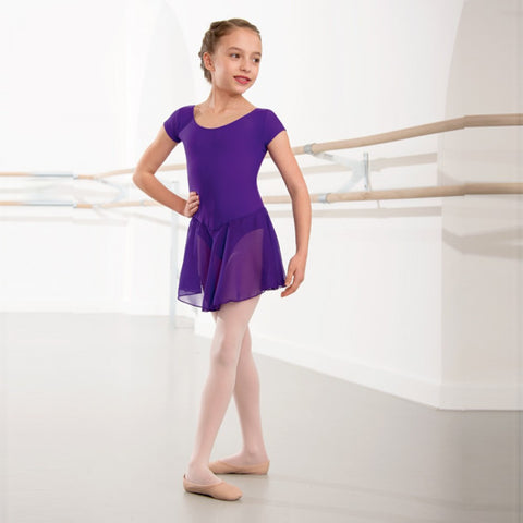 Purple leotard with voile skirt