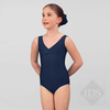 Navy ruched front leotard