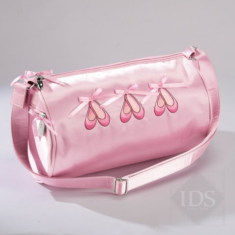 Pink satin ballet slipper barrel bag