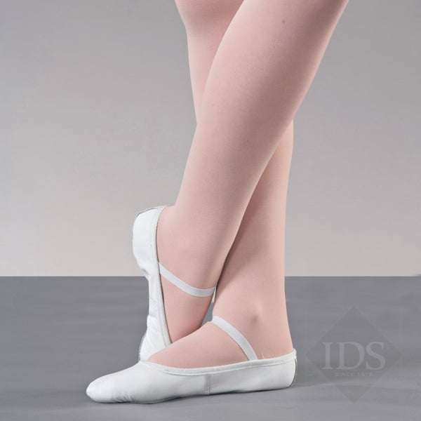 White leather ballet shoes