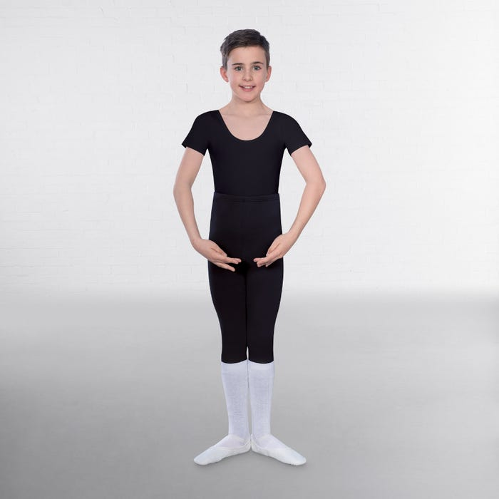 Boys black Short Sleeve Scoop Neck Leotard