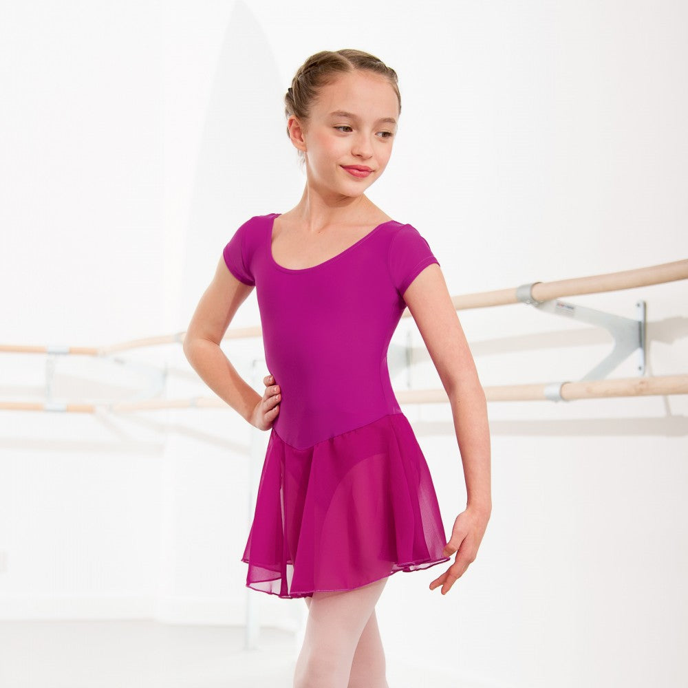 Magenta leotard with voile skirt