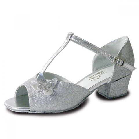 Latin silver butterfly shoes