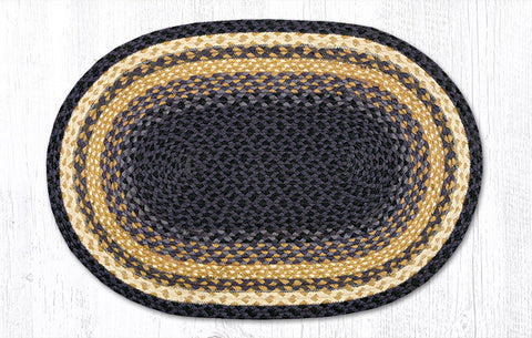 C-079 Light & Dark Blue/Mustard Braided Rug