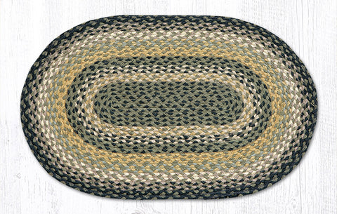 C-116 Black/Mustard/Cream Braided Rug