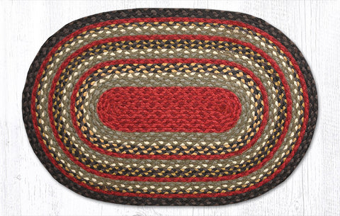 C-338 Burgundy/Olive/Charcoal Braided Rug