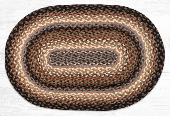 C-783 Black/Tan/Terracotta Braided Rug