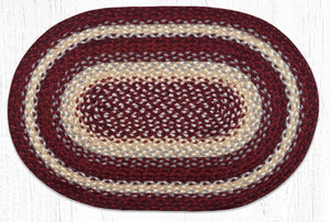 C-791 Burgundy/Gray/Cream Braided Rug